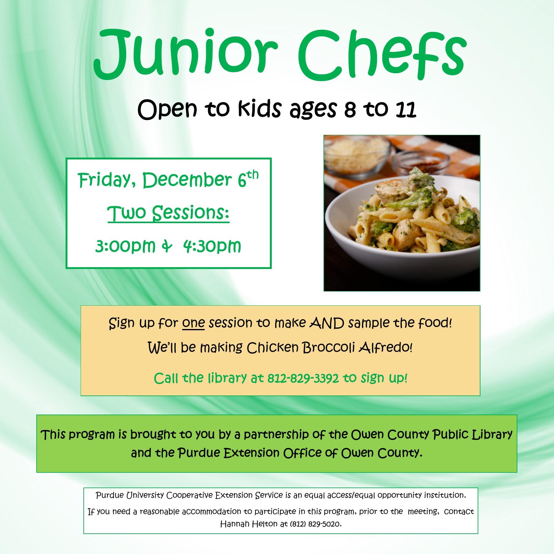 12-6, junior chefs flyer, instagram
