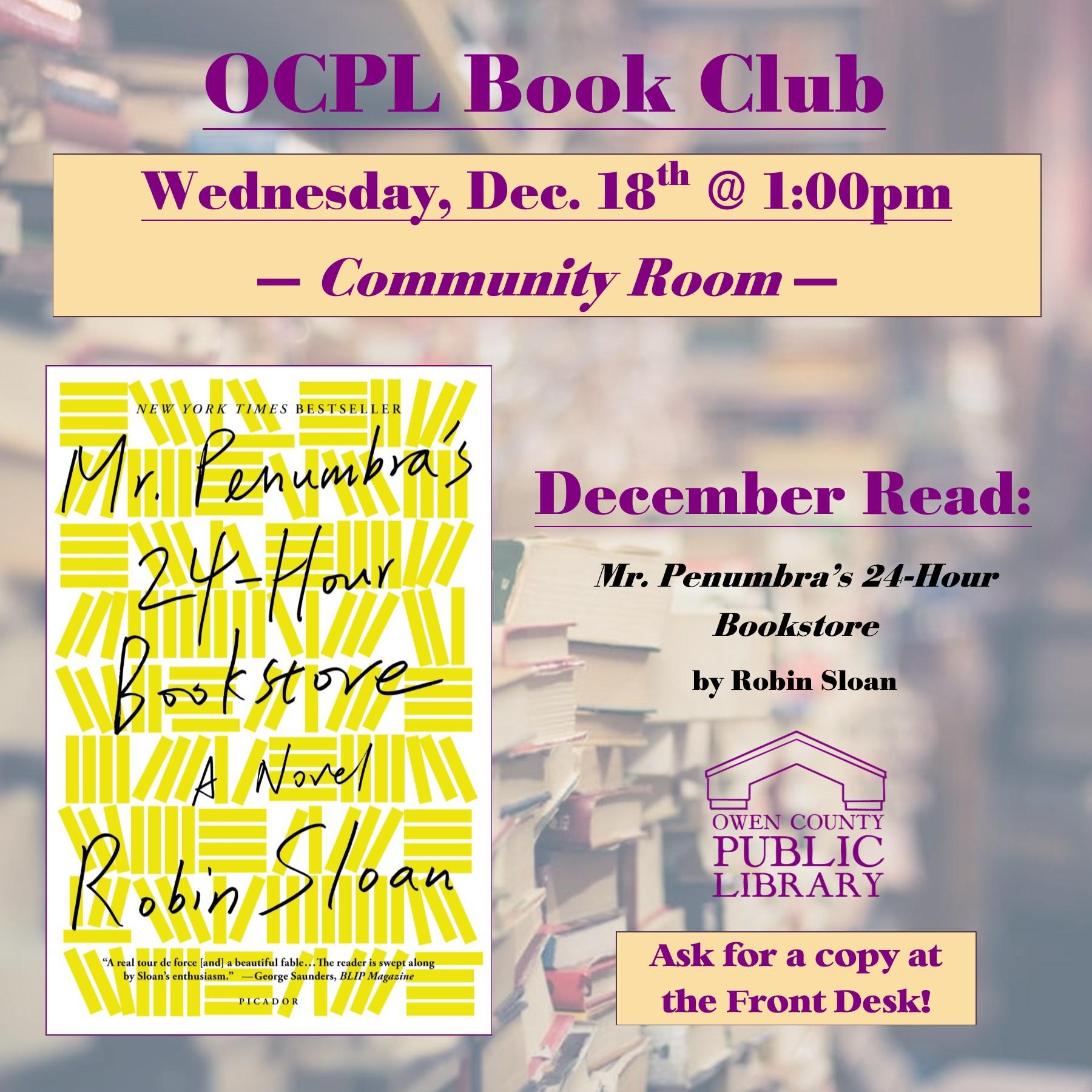 book club INSTAGRAM flyer, dec 18th