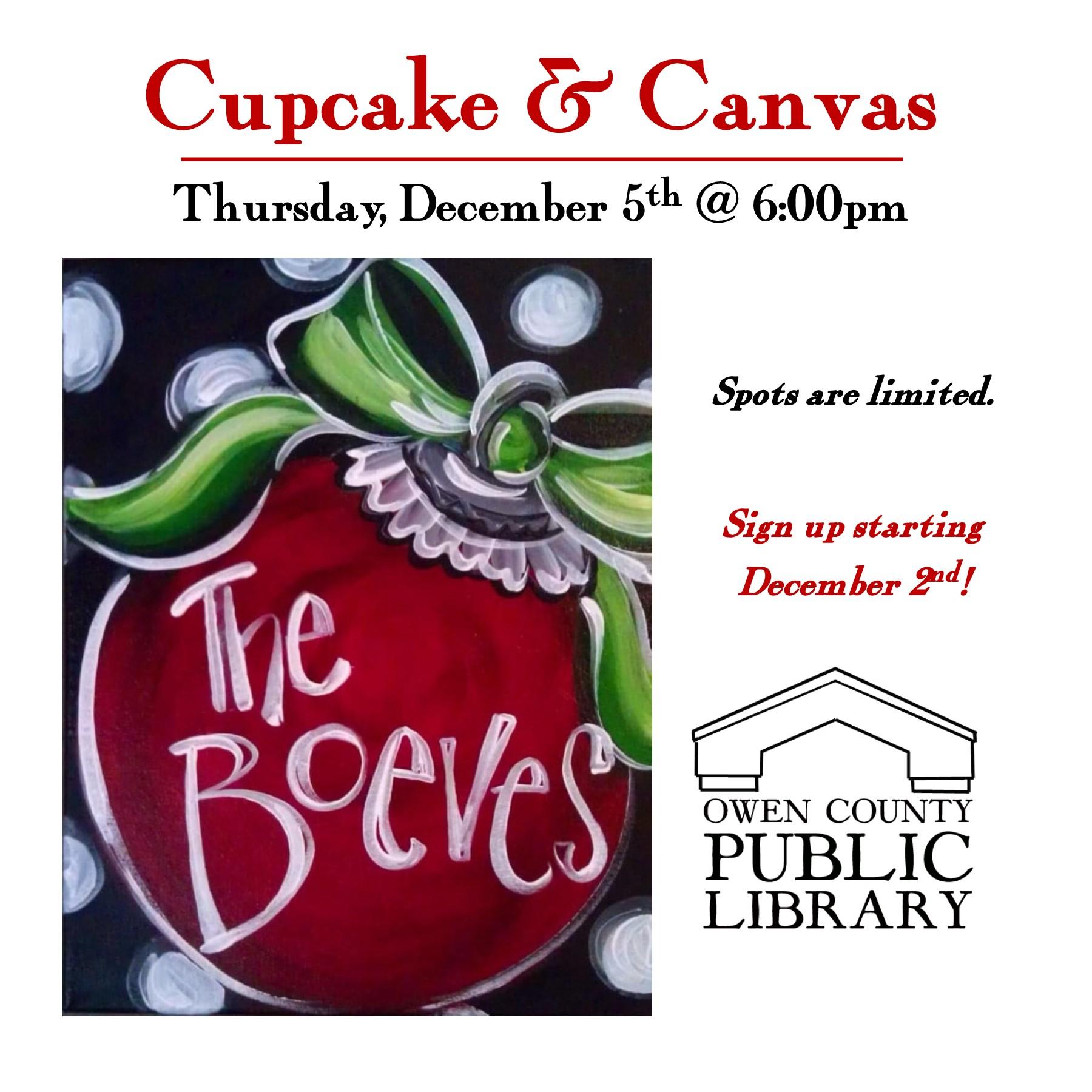cupcake & canvas INSTAGRAM flyer, dec 5th