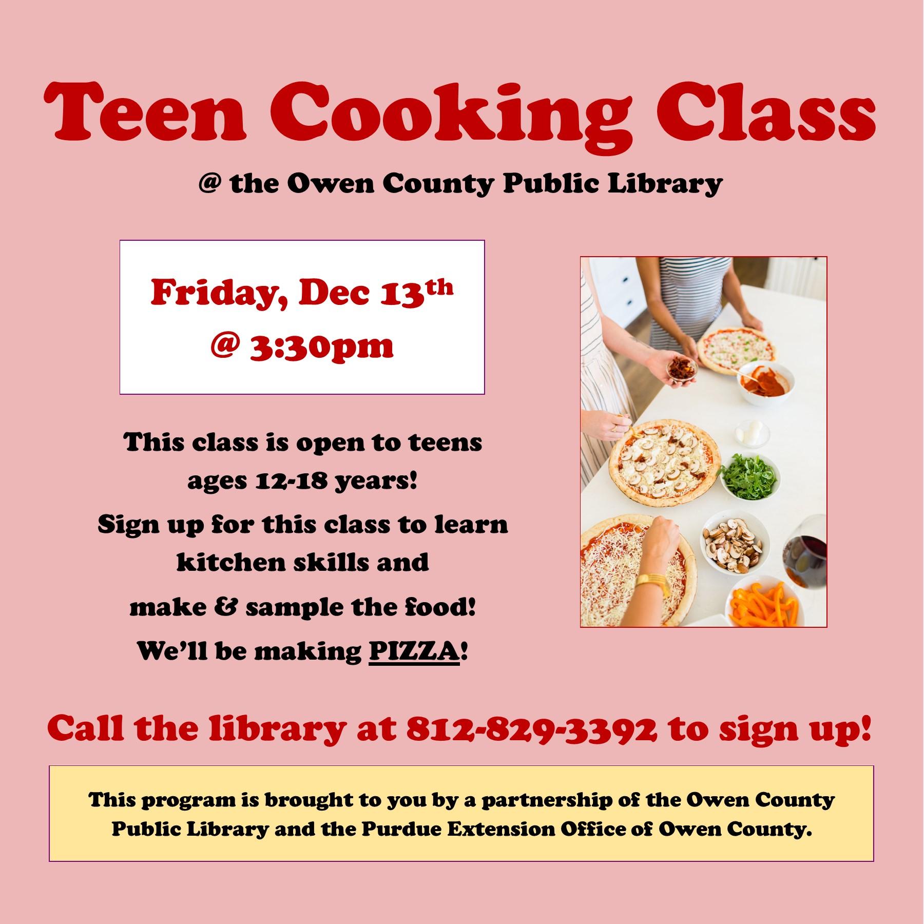 teen cooking class flyer, instagram, dec 2019