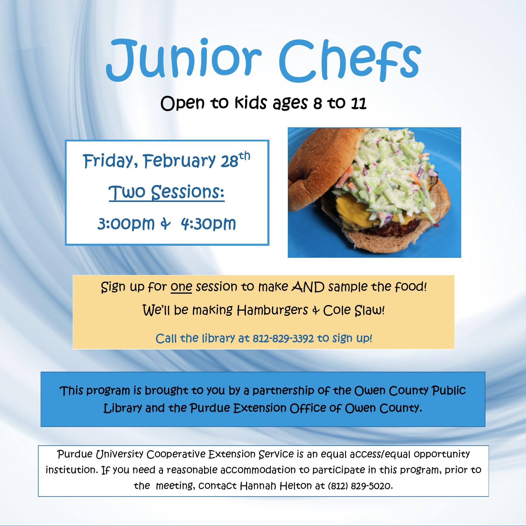 2-28, junior chefs, Jan 2020 INSTAGRAM flyer